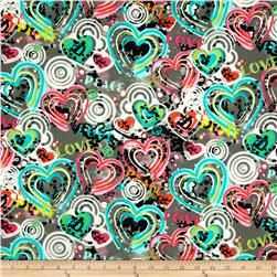 Kanvas Cool Girl Graffiti Hearts Grey Fabric