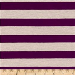 Yarn Dye Jersey Knit Stripe Plum/Oatmeal
