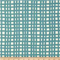 Cotton + Steel Yours Truly Going Steady Grid Teal