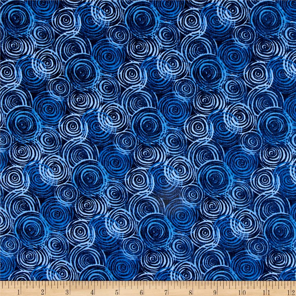 108'' Flannel Textured Circles Blue Fabric