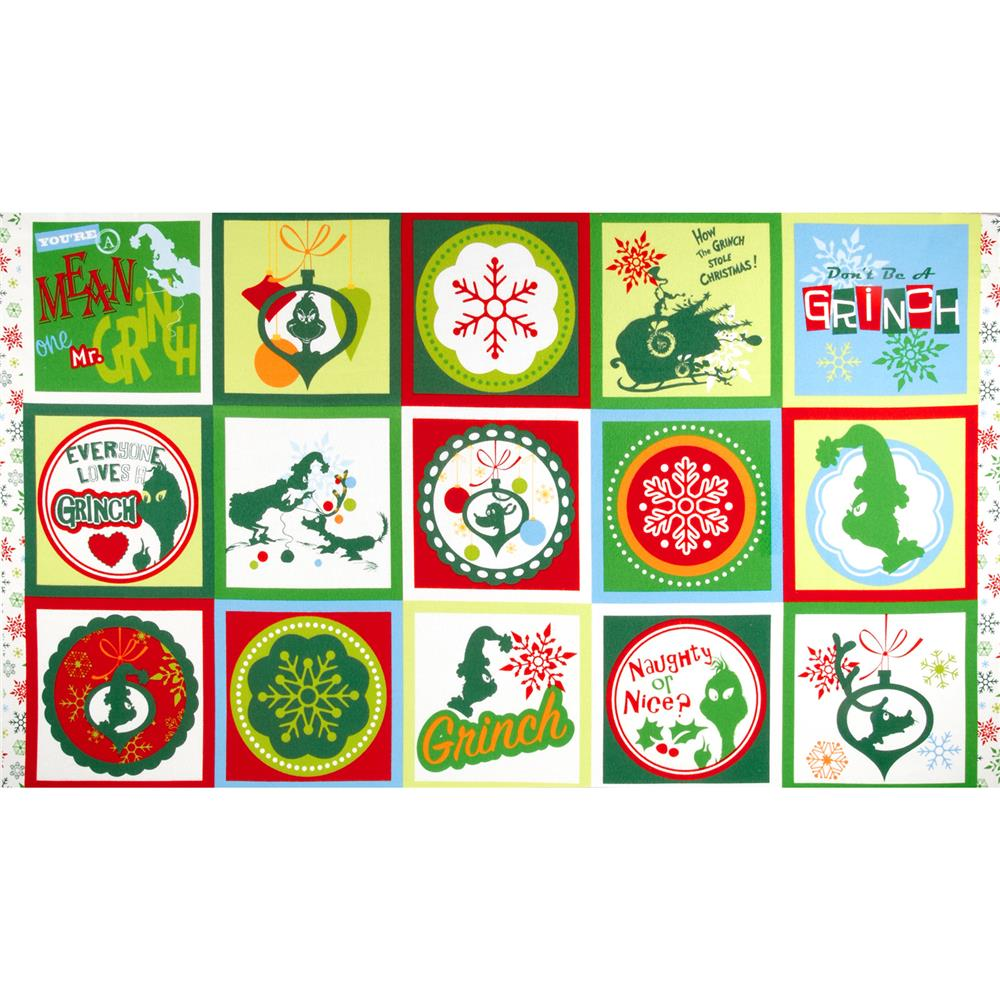 How The Grinch Stole Christmas Flannel 3 Block Panel Green Fabric