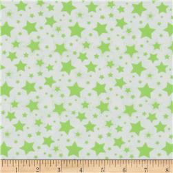 Starry Night Flannel White/Green Apple