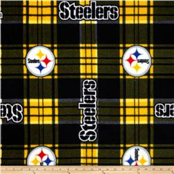 NFL Fleece Pittsburgh Steelers Plaid Black/Yellow Fabric