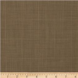 Designer Polyester Suiting Plaid Dark Khaki