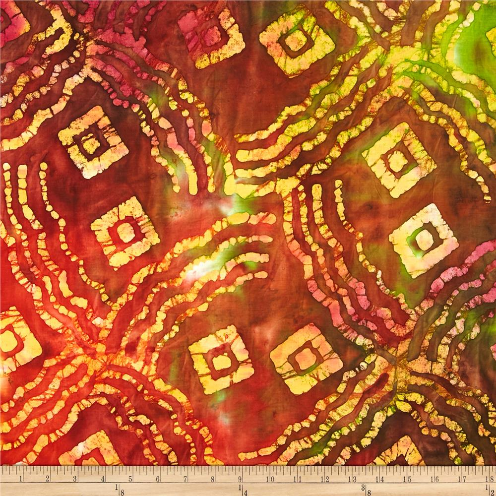 Indian Batik Abstract Brown/Yellow