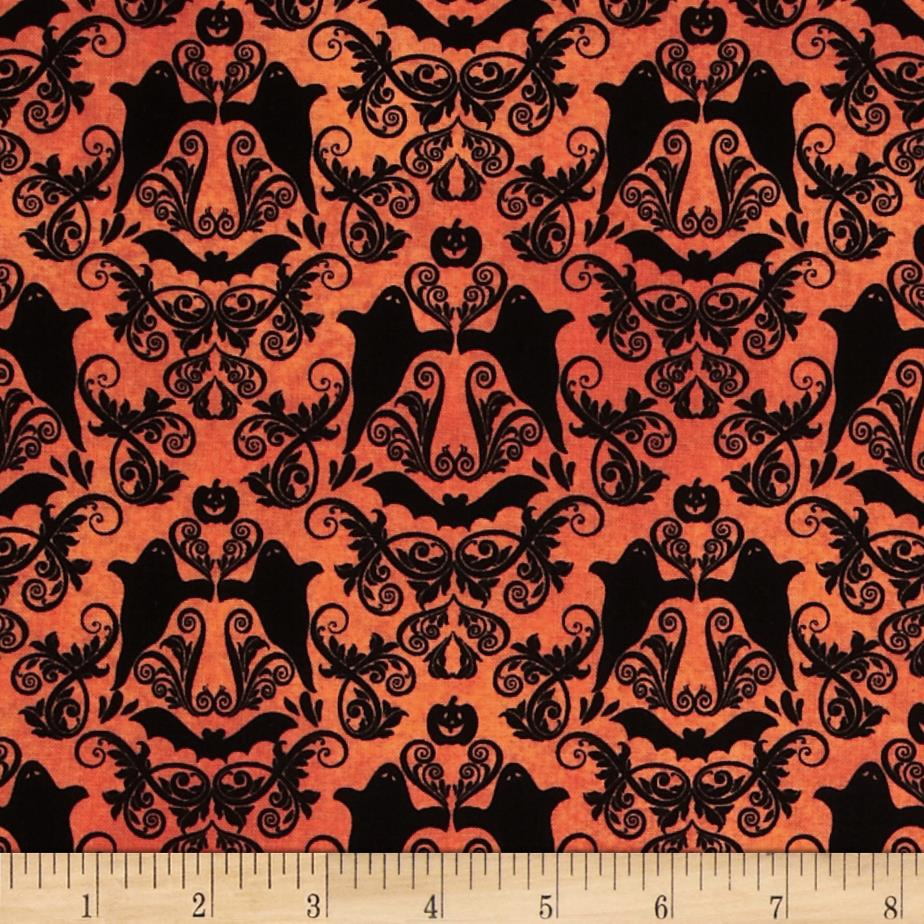 Hocus Pocus Halloween Damask Orange