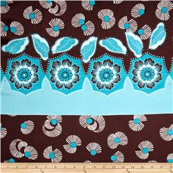 Charmeuse Satin Floral Engineered Print Brown/Turquoise