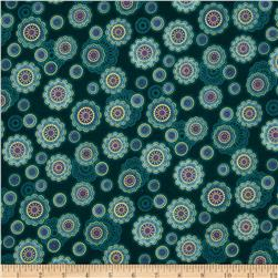Fortissimo Metallic Small Medallion Peacock Fabric