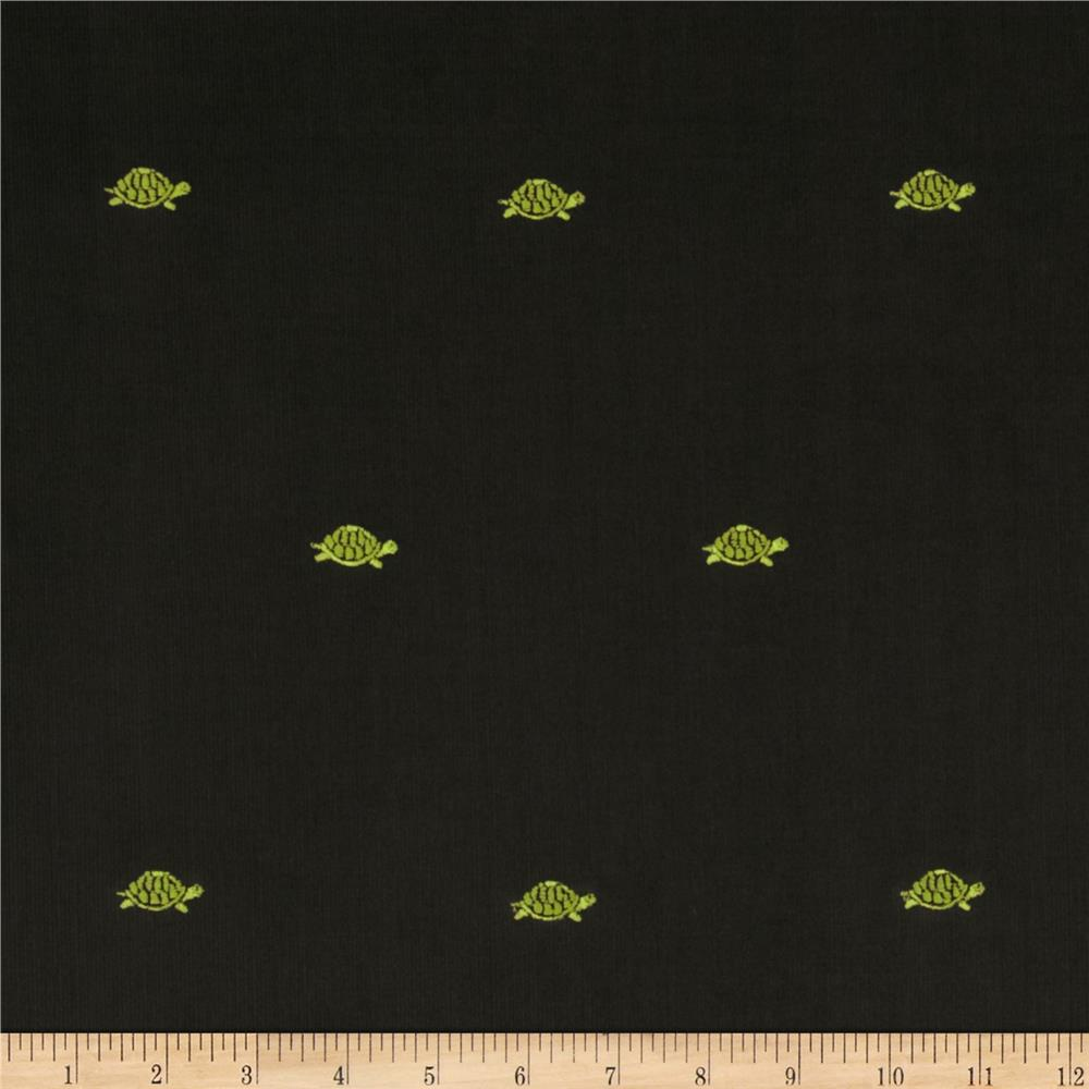 Embroidered 21 Wale Corduroy Turtle Graphite