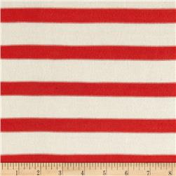 Rayon Lycra Hatchi Knit Yarn Dyed Stripes Orange/White