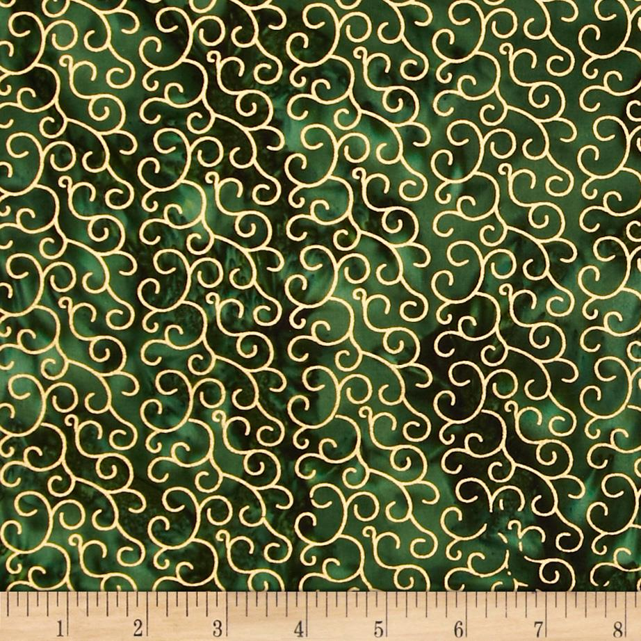 Island Batik Holiday Scroll Metallic Green