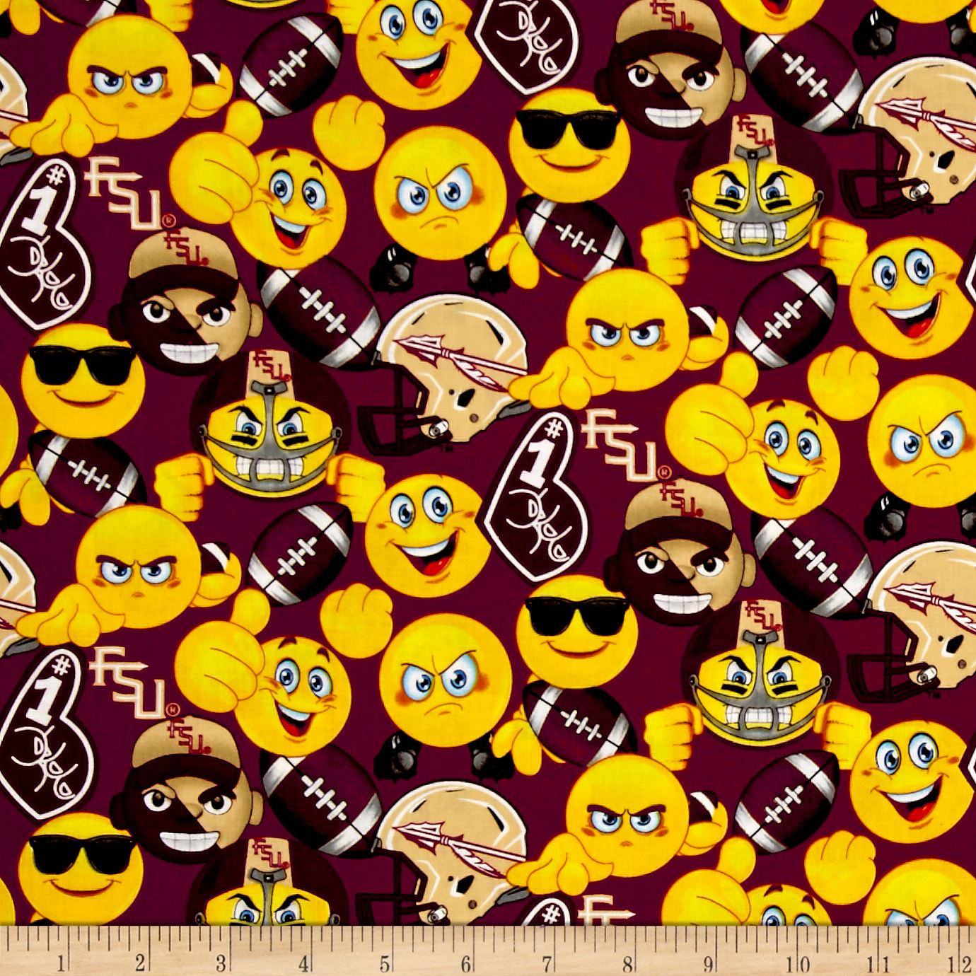Collegiate Cotton Florida State University Emojis Fabric by Sykel in USA