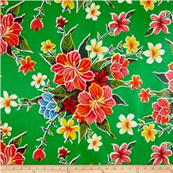 Oil Cloth Hibiscus Green Fabric