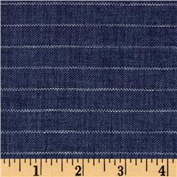 100% European Delave Linen Stripe Denim Blue