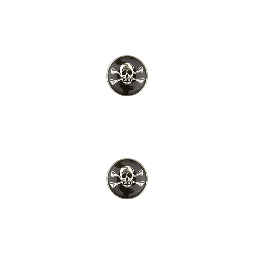 "Dill Metal Button 13/16"" Enamelled Skull Black"