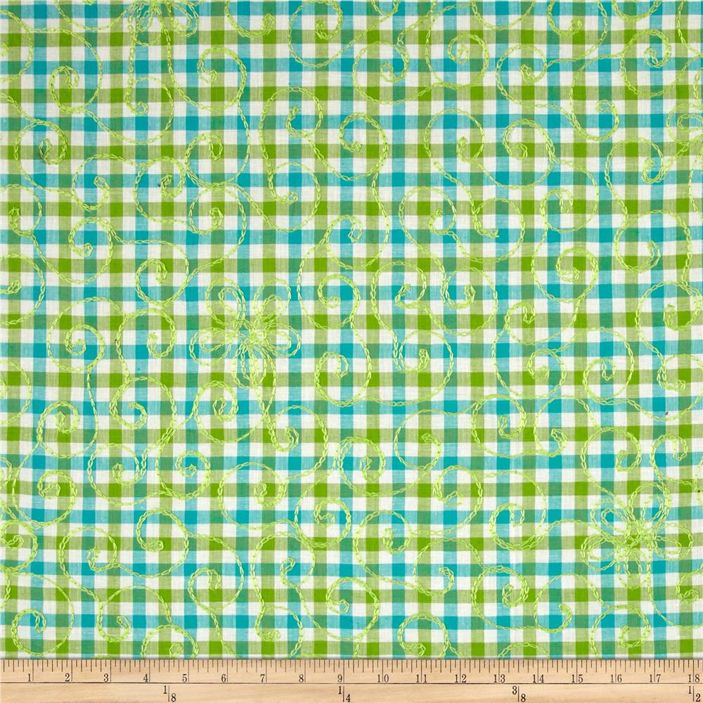 Forever Plaid Embroidered Blue/Green