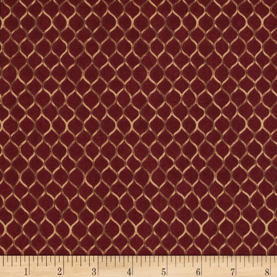 Moda Turning Leaves Honeycomb Cranberry