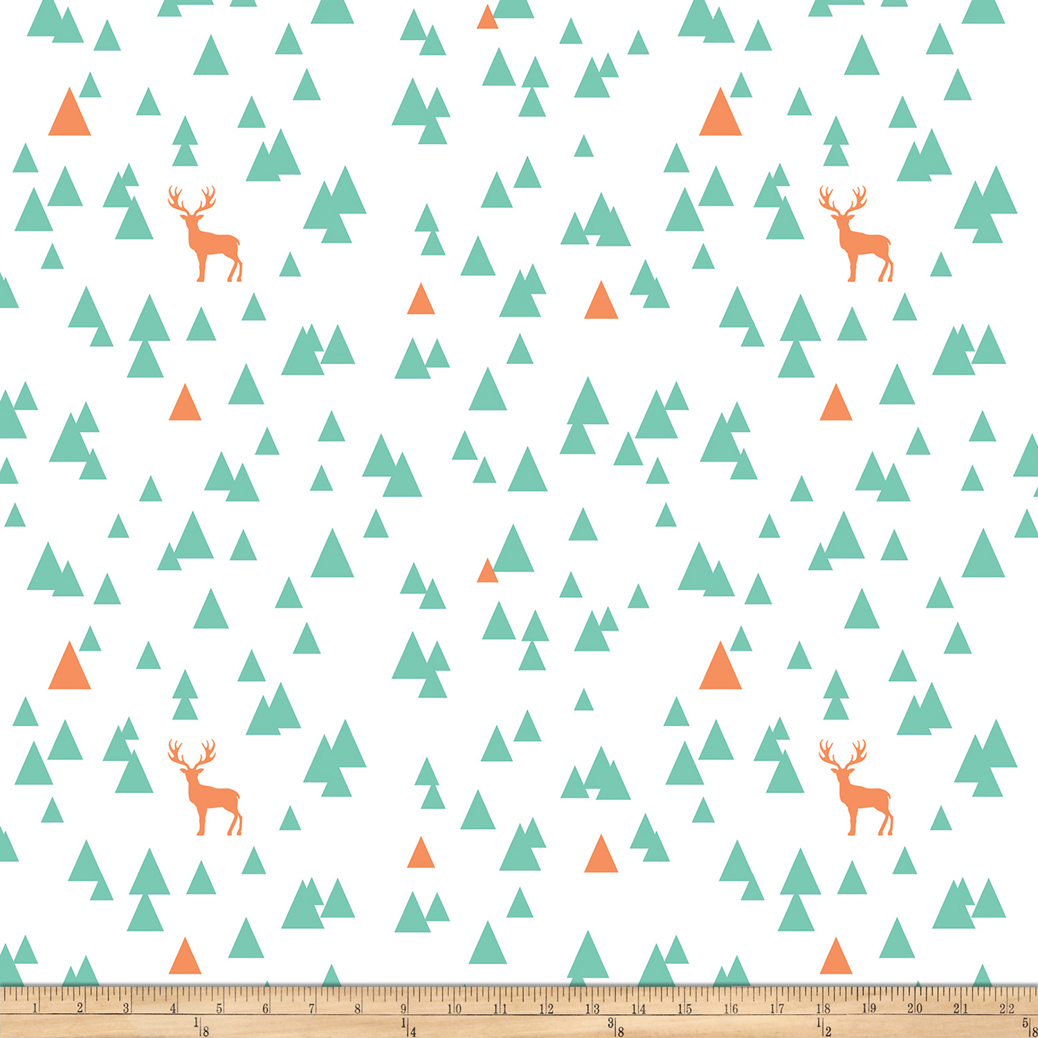 Image of Bolt By Girl Charlee Desert Sky Jersey Knit Triangle Stag Mint/Orange Fabric