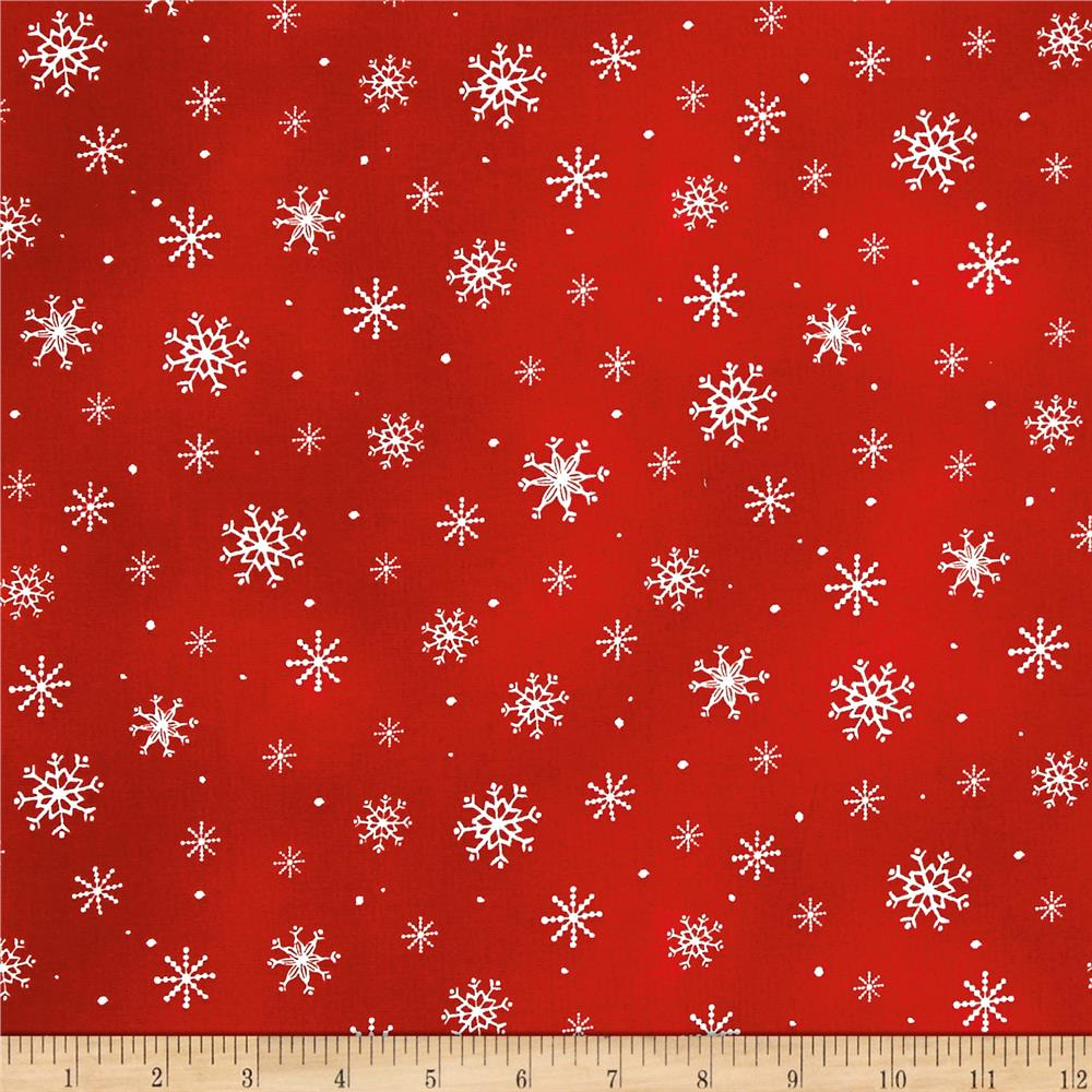 Just Chillin' Snowflakes Red Fabric