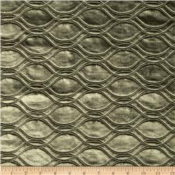 Tempo Embossed Velvet Circles Pewter Fabric