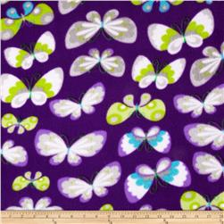 Winterfleece Butterflies Orchid Fabric