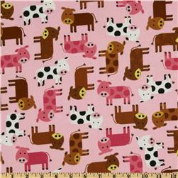 Urban Zoologie Baby Cows Pink Fabric