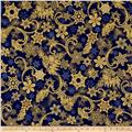 Kaufman Holiday Flourish Metallics Snowflakes Royal