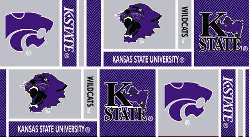 Collegiate Cotton Broadcloth Kansas State University Squares Purple/Grey