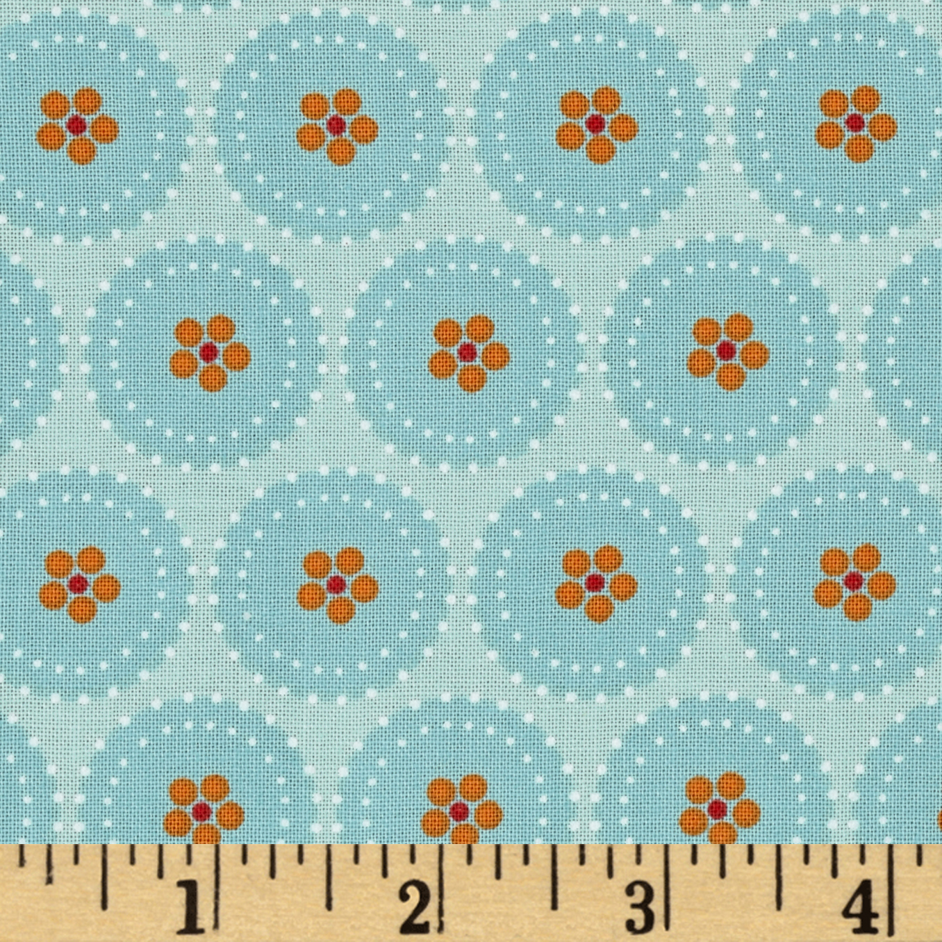 Hot House Flowers Circle Flowers Aqua Blue