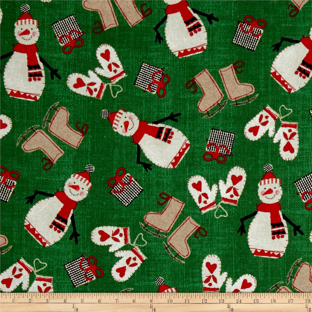 Craft Paper Christmas Happy Snowmen Green
