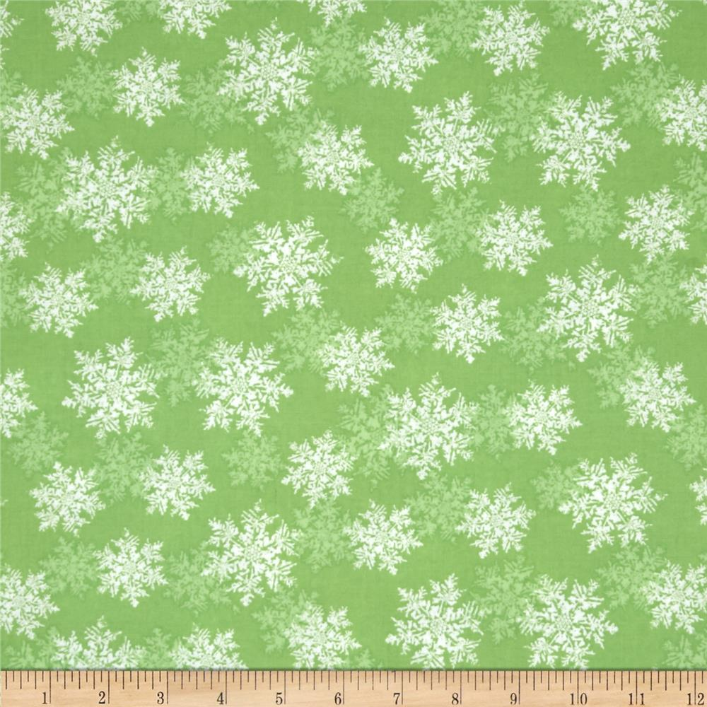 Seasons Greetings Snowflake Green