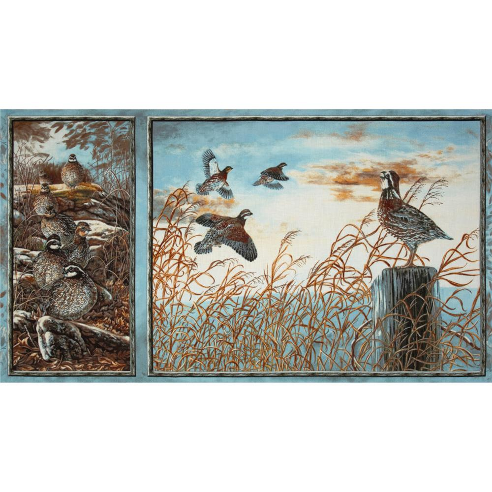 Quail Run Birds Panel Blue