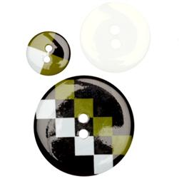 Fashion Buttons 5/8'', 1.00'', 1 3/8'' Coordinates Checkered Past Lime/Black/White