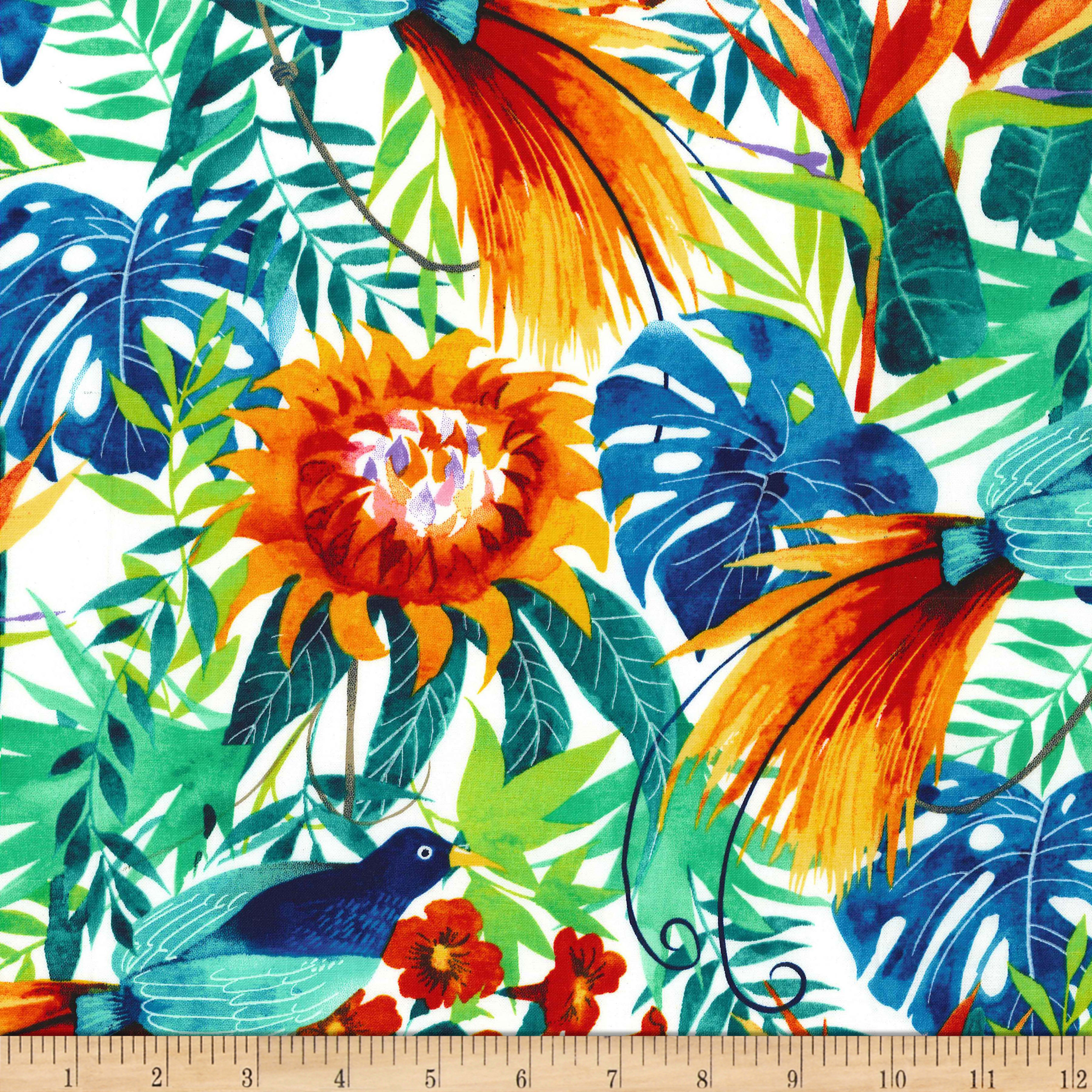 INOpets.com Anything for Pets Parents & Their Pets Michael Miller Garden Isle Garden Isle White Fabric