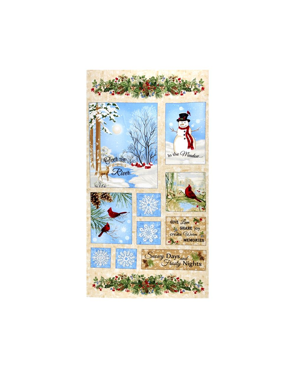 Timeless Treasures Winter Memories 24'' Winter Scenic Flannel Panel Beige Fabric