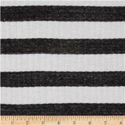 Cotton Blend 2 x 1 Rib Knit Stripe Grey/White