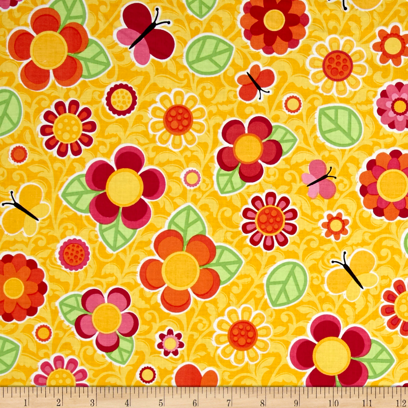 Image of Anna's Garden Tossed Flowers Buttercup Fabric