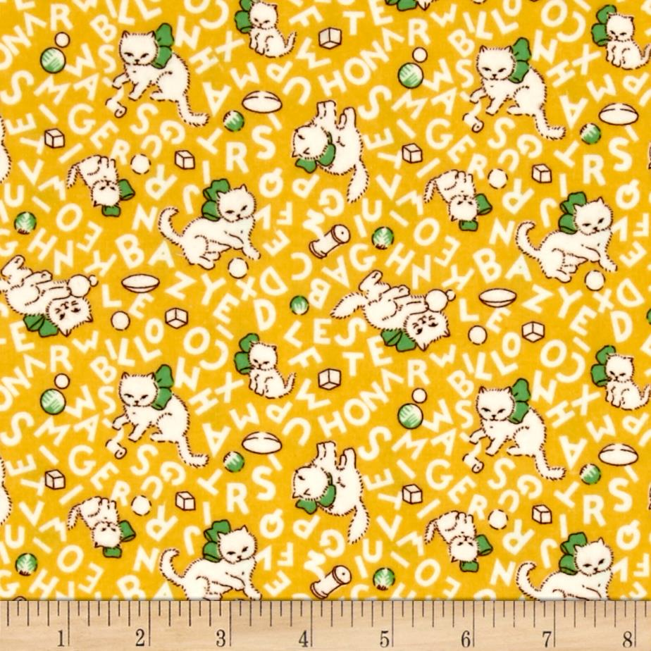 Storybook Flannel Alphabet Cats Yellow Fabric