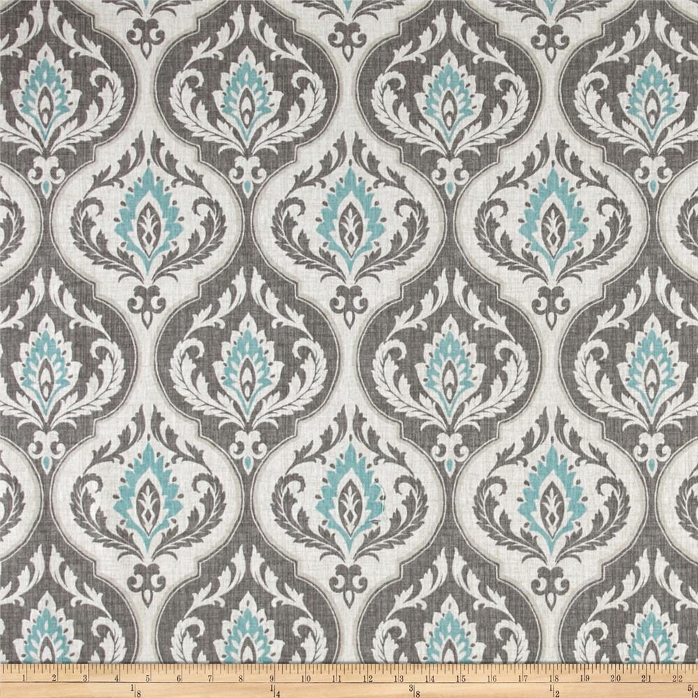 Swavelle/Mill Creek Damask Grey/Aqua