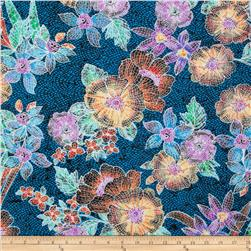 Stretch ITY Jersey Knit Mosaic Floral Blue/Purple