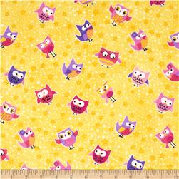 Comfy Flannel Owls Yellow