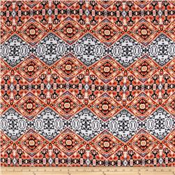 Aztec Rayon Challis Orange/Teal/Silver