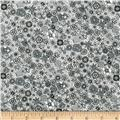 Kaufman London Calling Lawn Sketch Floral Grey