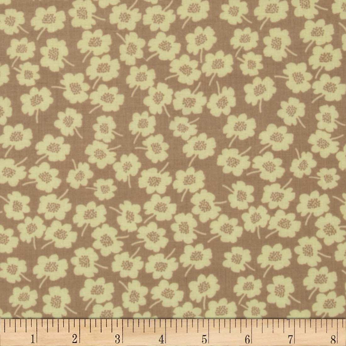 Secret Garden Daisy Dot Linen Taupe Fabric