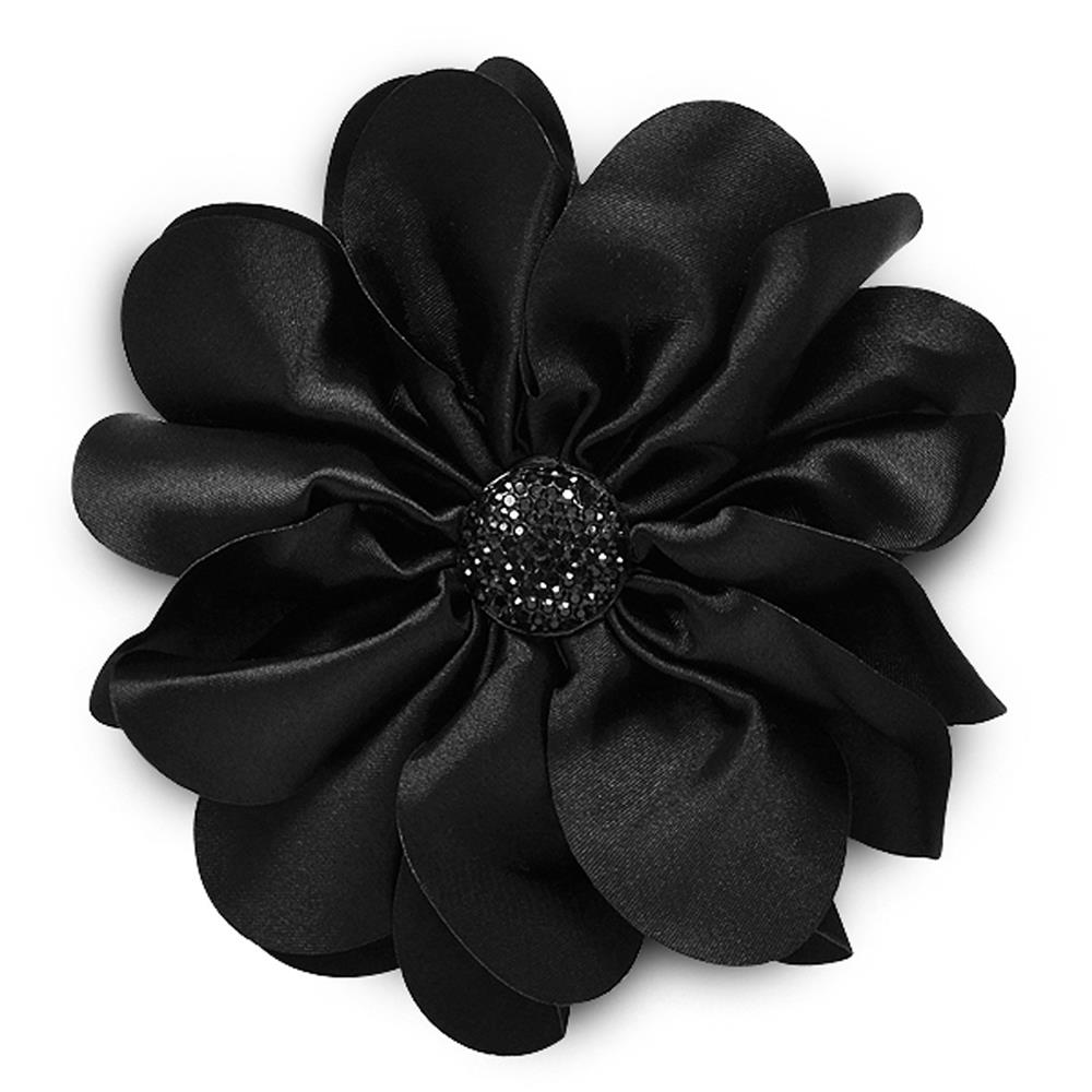 "4-1/2"" Satin Flower Brooch And Hairclip Sparkle Center Black"
