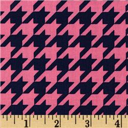 Riley Blake Medium Houndstooth Hot Pink/Navy Fabric