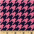 Riley Blake Medium Houndstooth Hot Pink/Navy