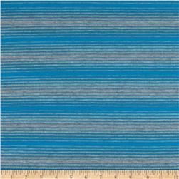 Stretch Rayon Blend Yarn Dyed Jersey Knit Stripes Turquoise/Grey