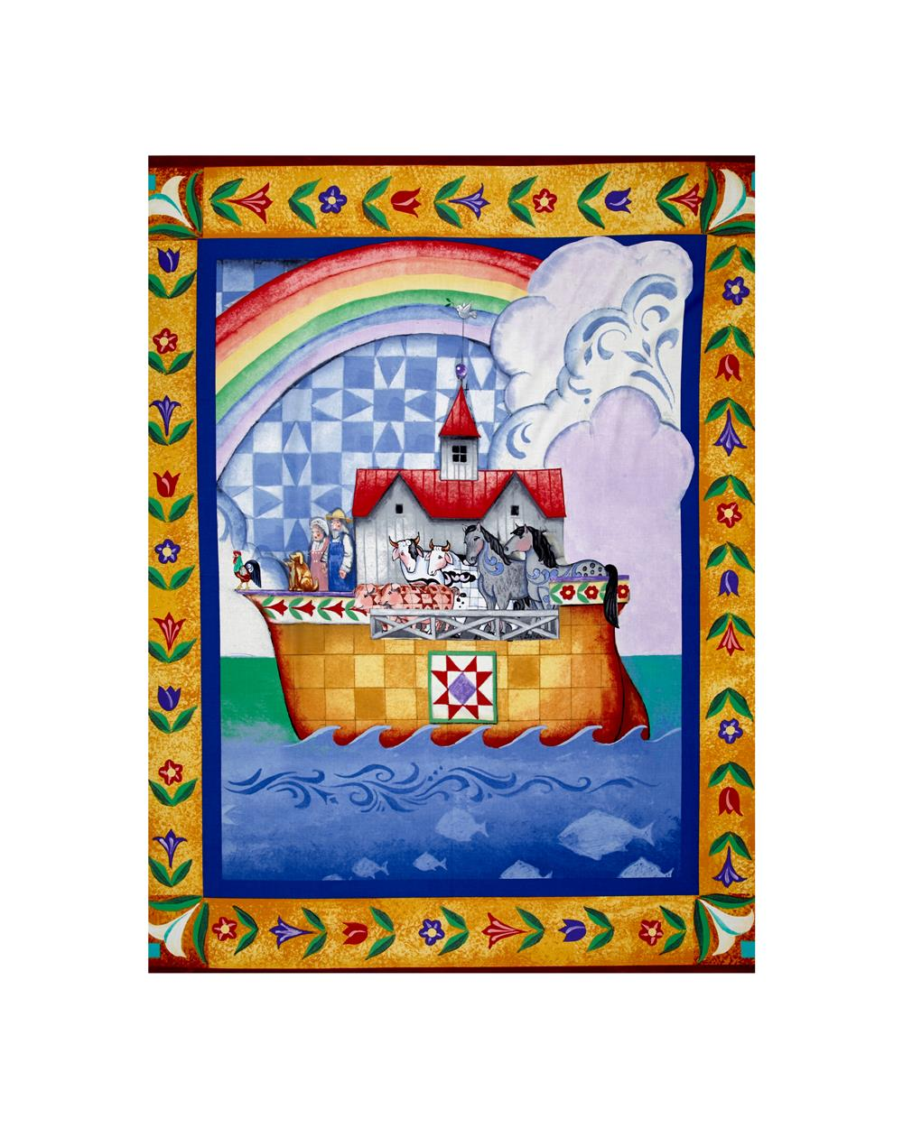 Jim Shore Noah's Ark 34 In. Panel Blue