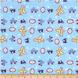 Camelot Flannel Transportation Light Blue
